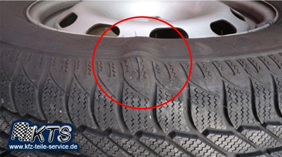 Beule Seitenwand Flanke Reifen Reifenschaden Schaden www.kfz-teile-service.de Kfz-Teile-Service Kluwe